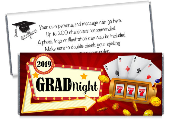 Grad Night Casino Themed Graduation Candy Bar Wrappers