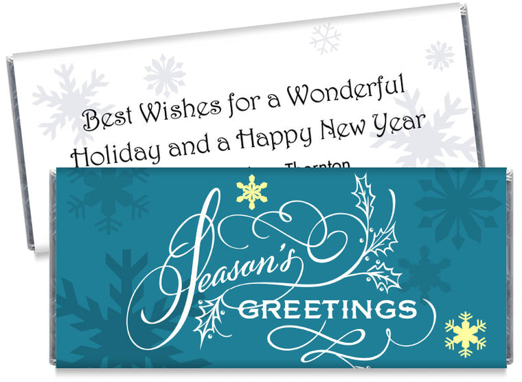 Blue Seasons Greetings Candy Bar Wrappers