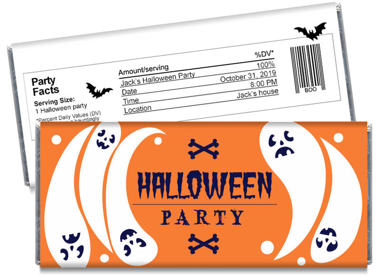 Flying Ghosts Halloween Candy Bar Wrappers