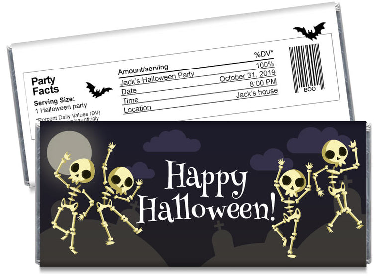 Dancing Skeletons Halloween Candy Bar Wrappers