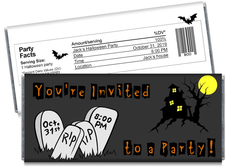 Haunted Hill Halloween Invitation Candy Bar Wrappers