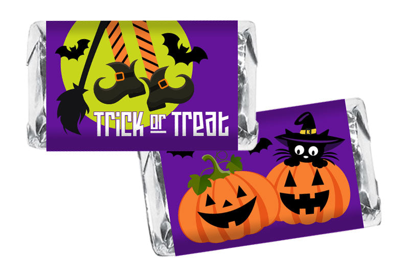 Pumpkins and Witch Halloween Mini Bar Wrappers