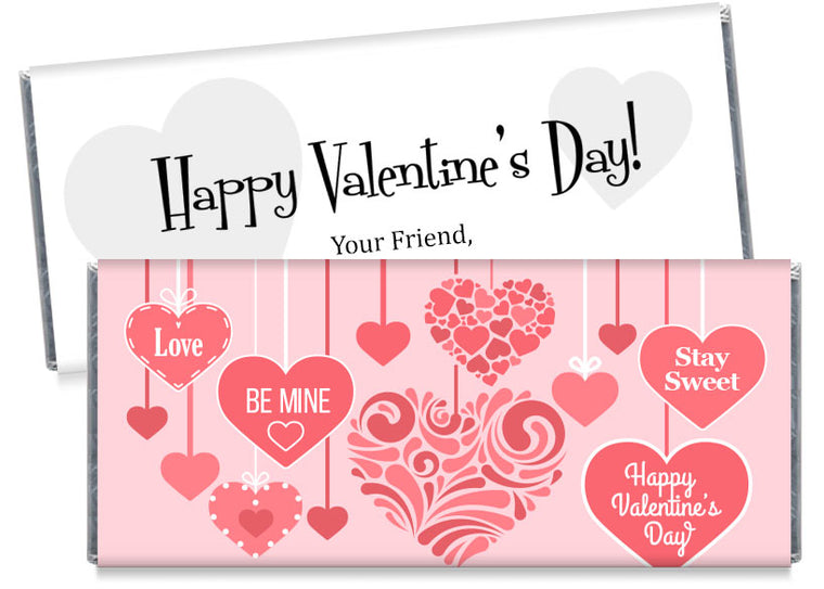 Pink Hanging Hearts Valentine's Day Candy Bar Wrappers