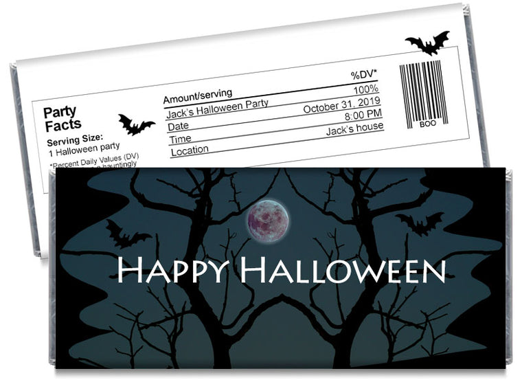Haunted Moon Halloween Candy Bar Wrappers