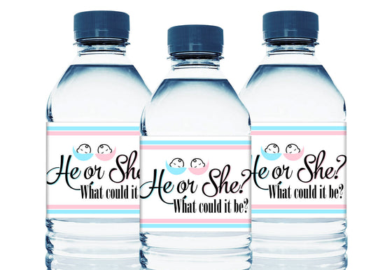 He or She? Personalized Gender Reveal Baby Shower Water Bottle Labels