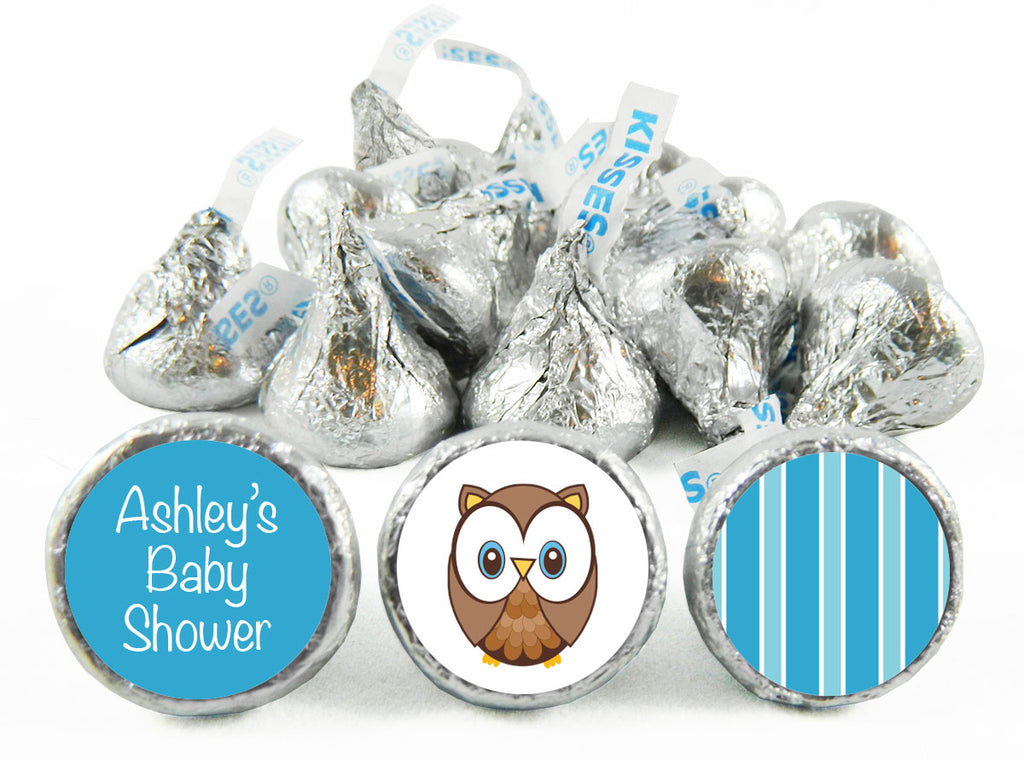 Blue Owl Baby Shower Labels for Hershey's Kisses