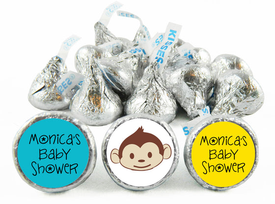 Mod Monkey Baby Shower Labels for Hershey's Kisses