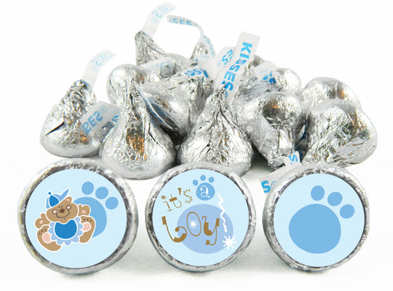 Teddy Bear Blue Baby Shower Labels for Hershey's Kisses