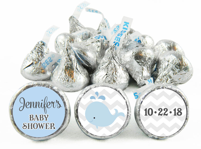 Whale Baby Shower Labels for Hershey's Kisses
