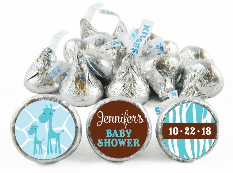 Giraffe Safari Baby Shower Labels for Hershey's Kisses