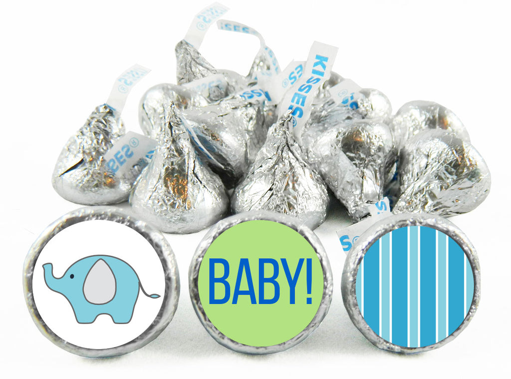 Elephant Stripes Baby Shower Labels for Hershey's Kisses