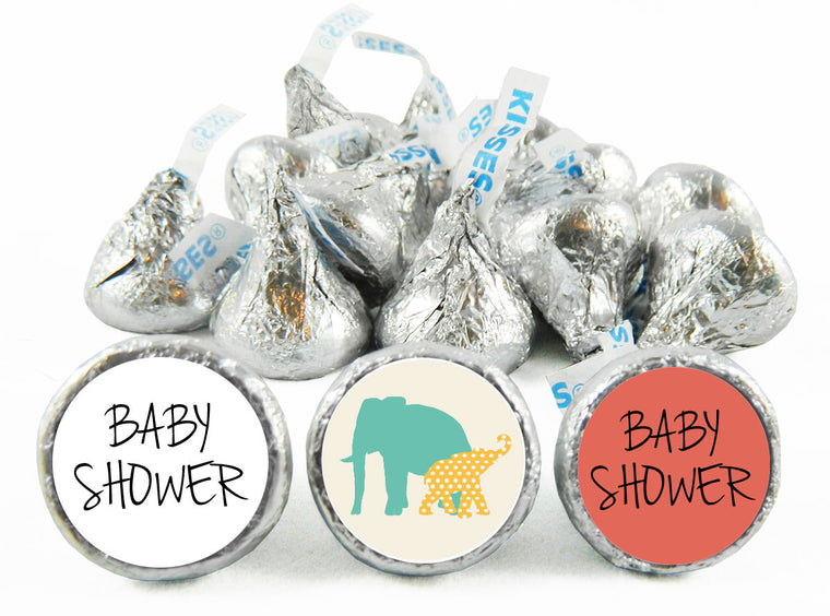 Safari Elephants Baby Shower Labels for Hershey's Kisses