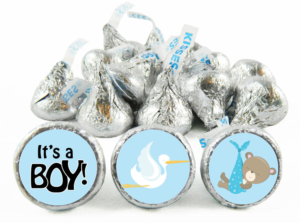 Teddy Stork Baby Shower Labels for Hershey's Kisses
