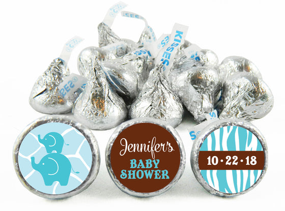 Jungle Elephants Baby Shower Labels for Hershey's Kisses