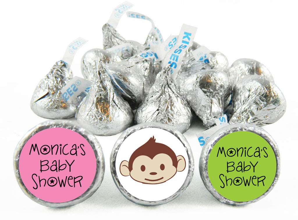 Mod Monkey Girl Baby Shower Labels for Hershey's Kisses
