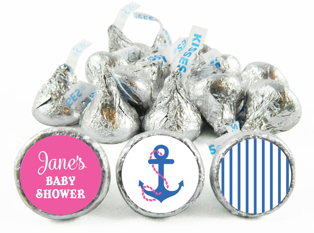 Nautical Girl Baby Shower Labels for Hershey's Kisses