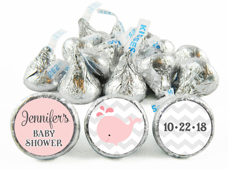 Whale Girl Baby Shower Labels for Hershey's Kisses