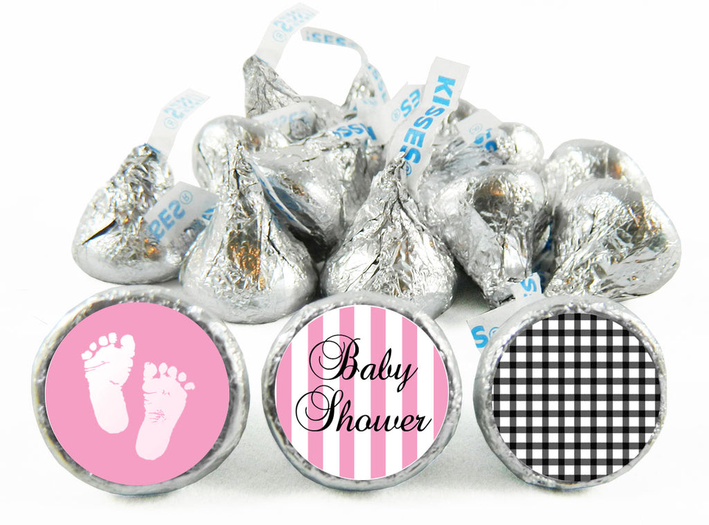 Little Feet Pink Girl Baby Shower Labels for Hershey's Kisses