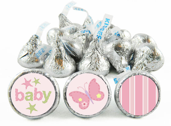 Pink Butterflies Girl Baby Shower Labels for Hershey's Kisses