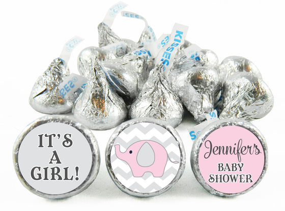 Girl Chevron Elephant Labels for Hershey's Kisses