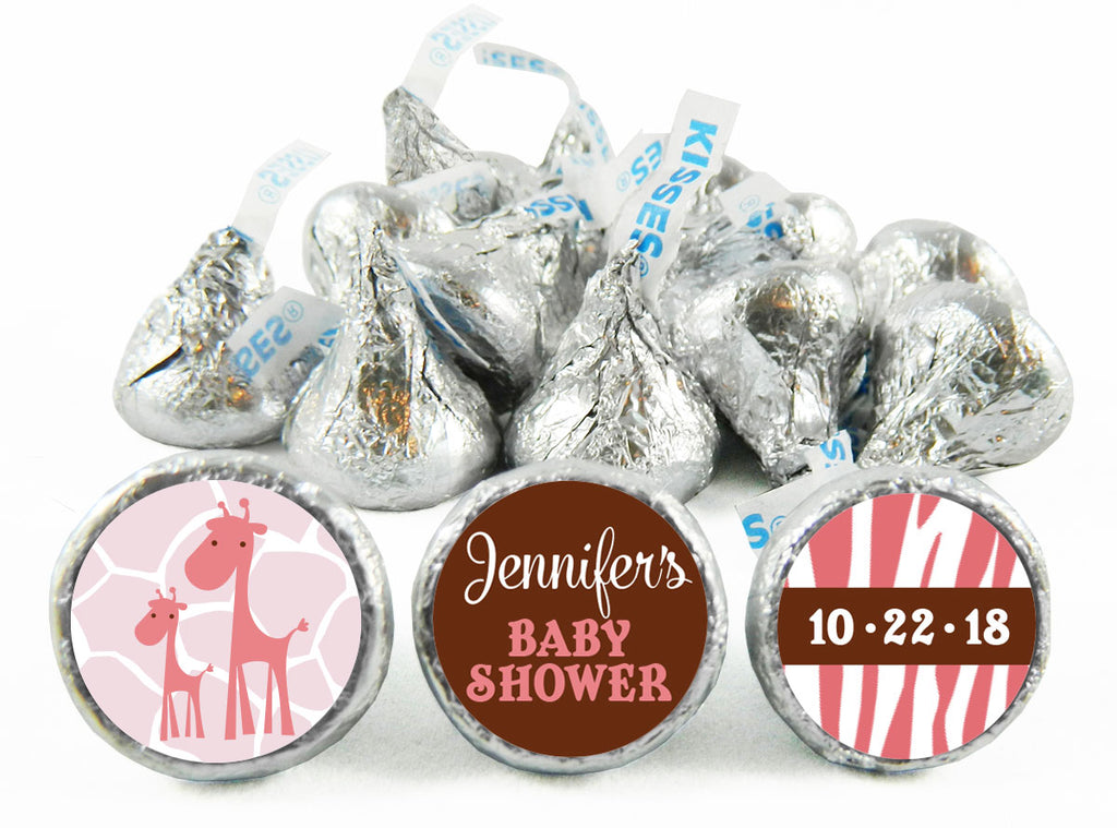 Pink Safari Giraffe Labels for Hershey's Kisses