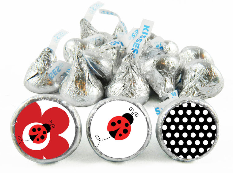 Lady Bug Fancy Girl Baby Shower Labels for Hershey's Kisses