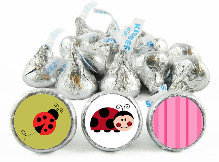 Lady Bug Girl Baby Shower Labels for Hershey's Kisses