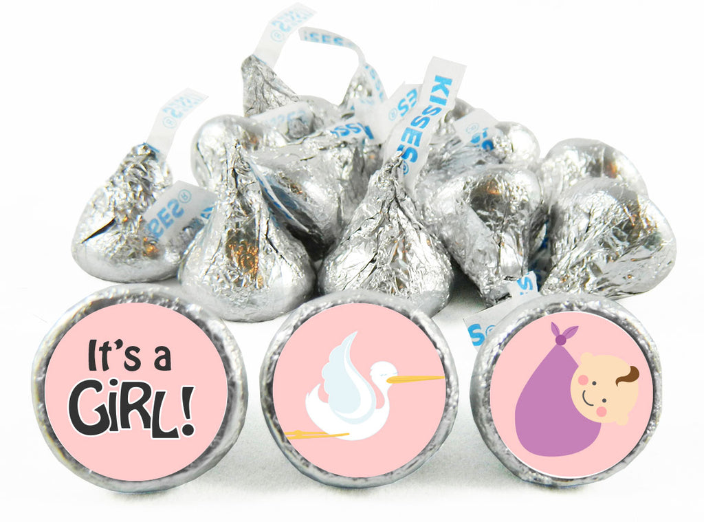 Stork Girl Baby Shower Labels for Hershey's Kisses