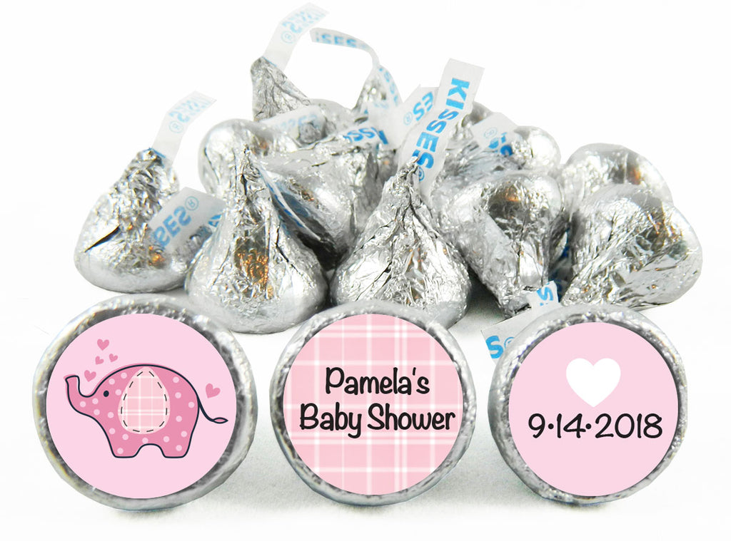 Pink Umbrellaphant Girl Baby Shower Labels for Hershey's Kisses