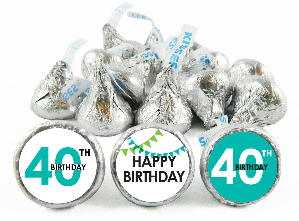 Banner Adult Birthday Party Labels for Hershey's Kisses