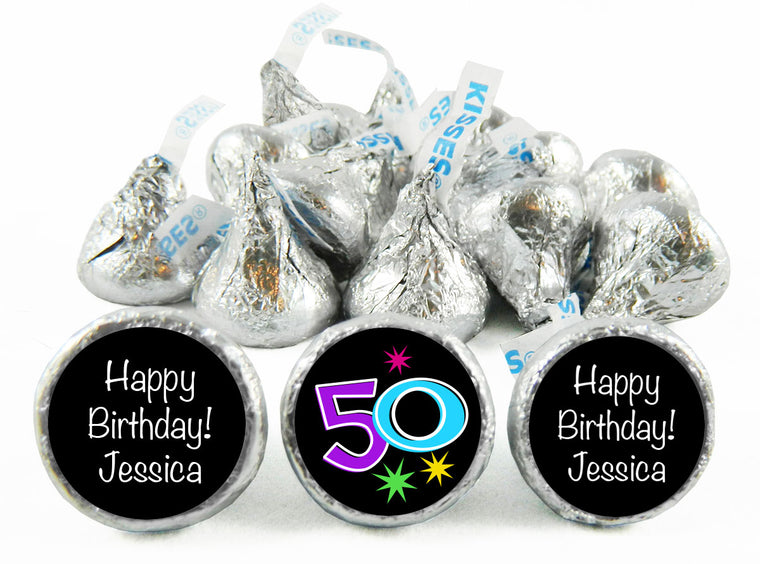 Confetti Adult Birthday Party Labels for Hershey's Kisses