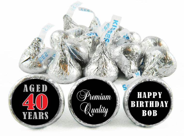 Aged Adult Birthday Party Labels for Hershey's Kisses