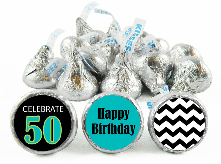 Celebrate 50, 60... Adult Birthday Party Labels for Hershey's Kisses