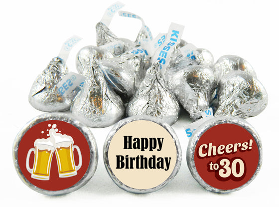 Cheers! Adult Birthday Party Labels for Hershey's Kisses