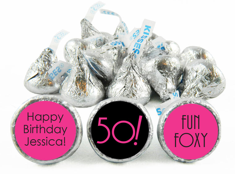 Fun and Foxy Adult Birthday Party Labels for Hershey's Kisses