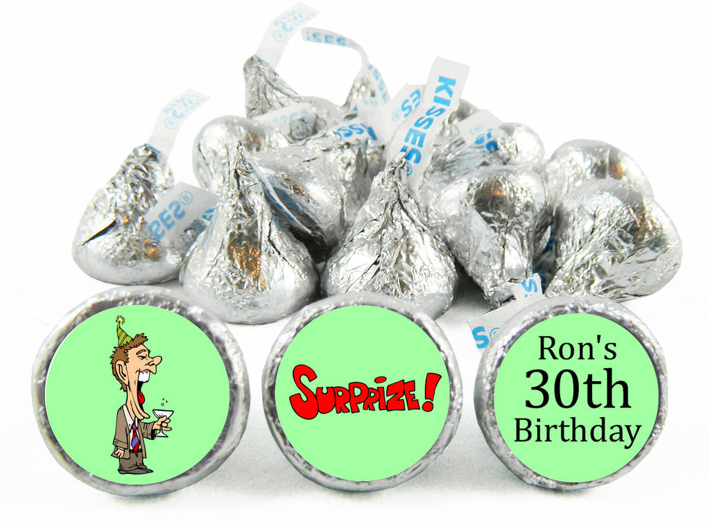 Surprize! Adult Birthday Party Labels for Hershey's Kisses