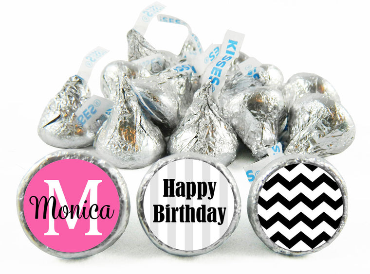 Monogram Adult Birthday Party Labels for Hershey's Kisses