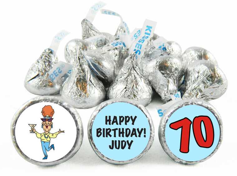 Old Lady Adult Birthday Party Labels for Hershey's Kisses