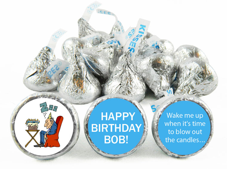 Old Man Sleeping Adult Birthday Party Labels for Hershey's Kisses