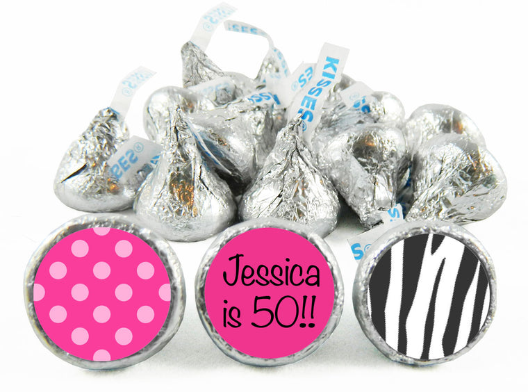 Dots and Stripes Adult Birthday Party Labels for Hershey's Kisses