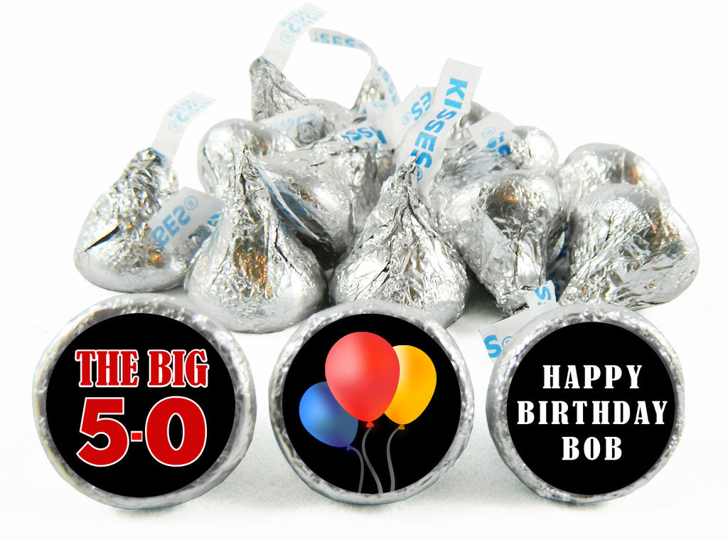 The Big 5-0 Adult Birthday Party Labels for Hershey's Kisses