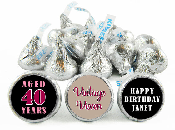 Vintage Vixen Adult Birthday Party Labels for Hershey's Kisses