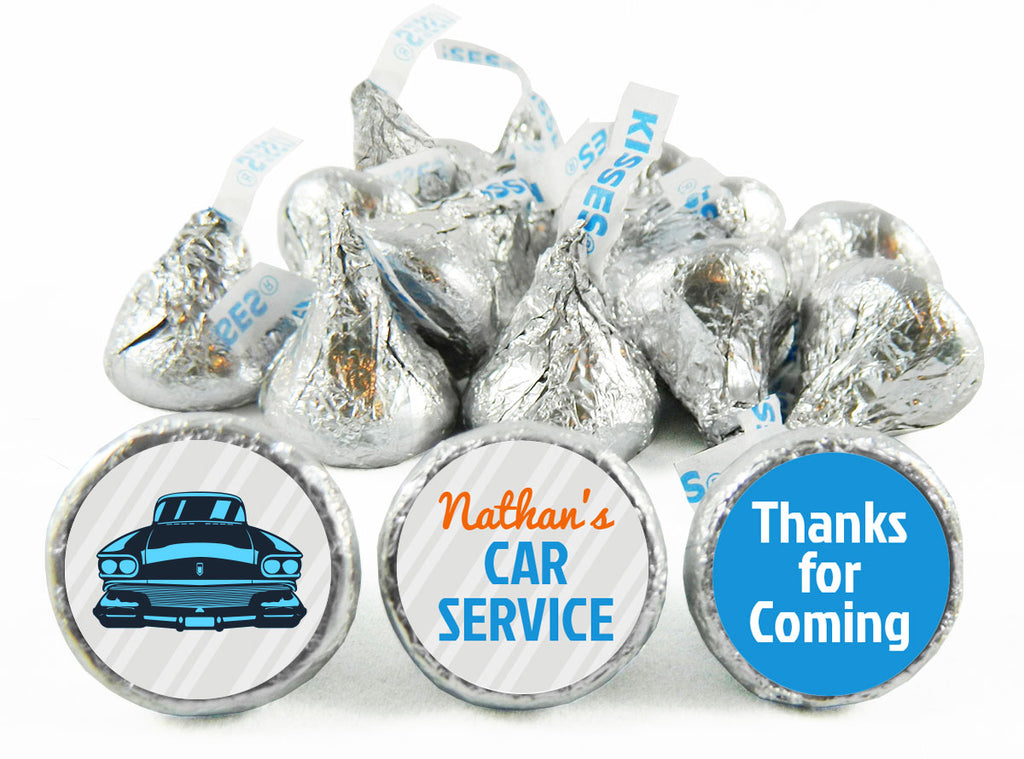 Retro Car Service Birthday Party Labels for Hershey's Kisses