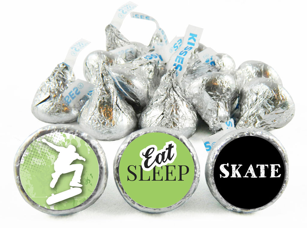 Eat Sleep Skate Birthday Party Labels for Hershey's Kisses