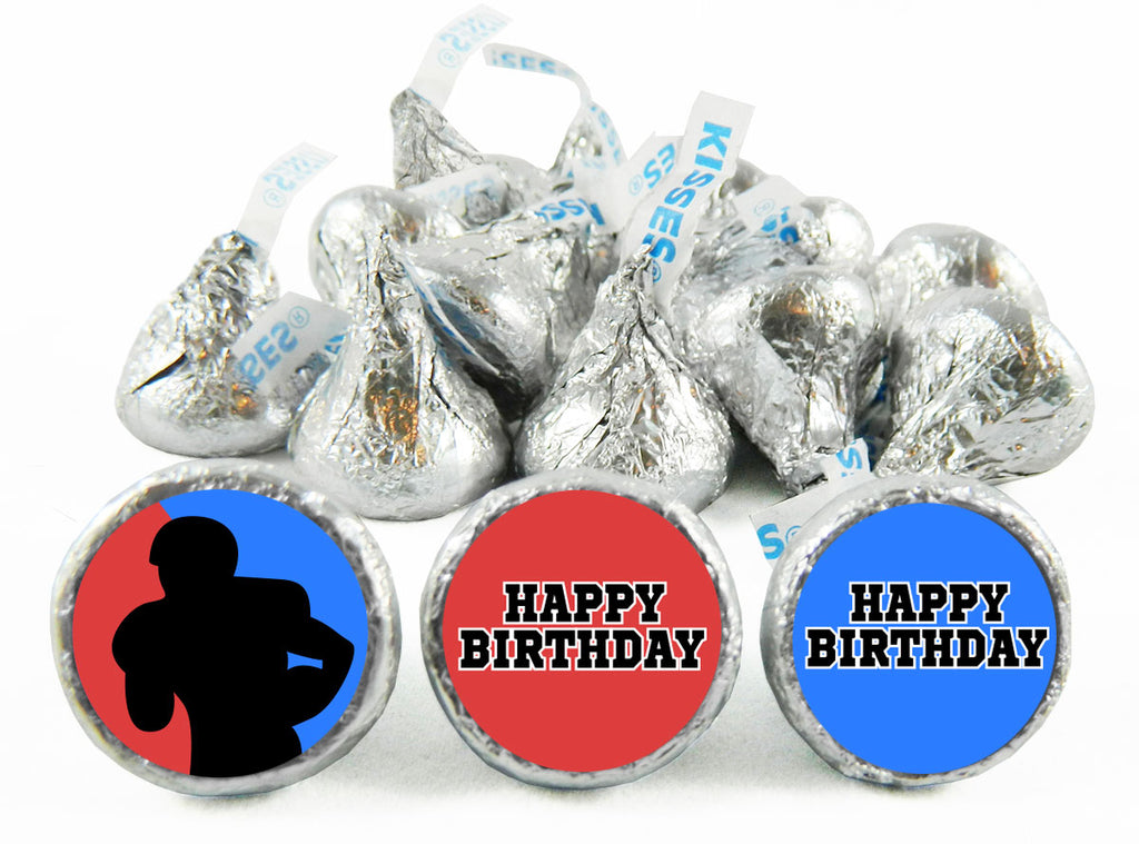 Silhouette Football Birthday Party Labels for Hershey's Kisses