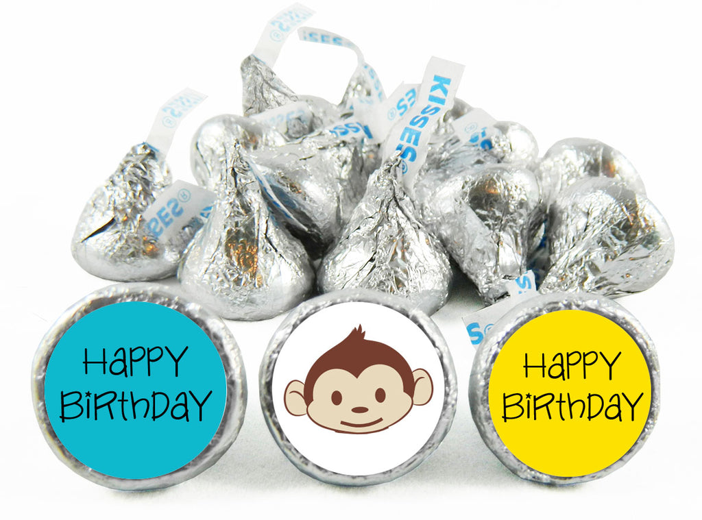 Mod Monkey Birthday Party Labels for Hershey's Kisses