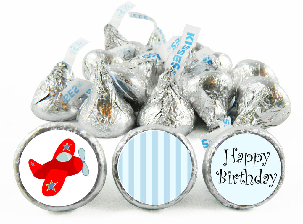 Red Plane Birthday Party Labels for Hershey's Kisses
