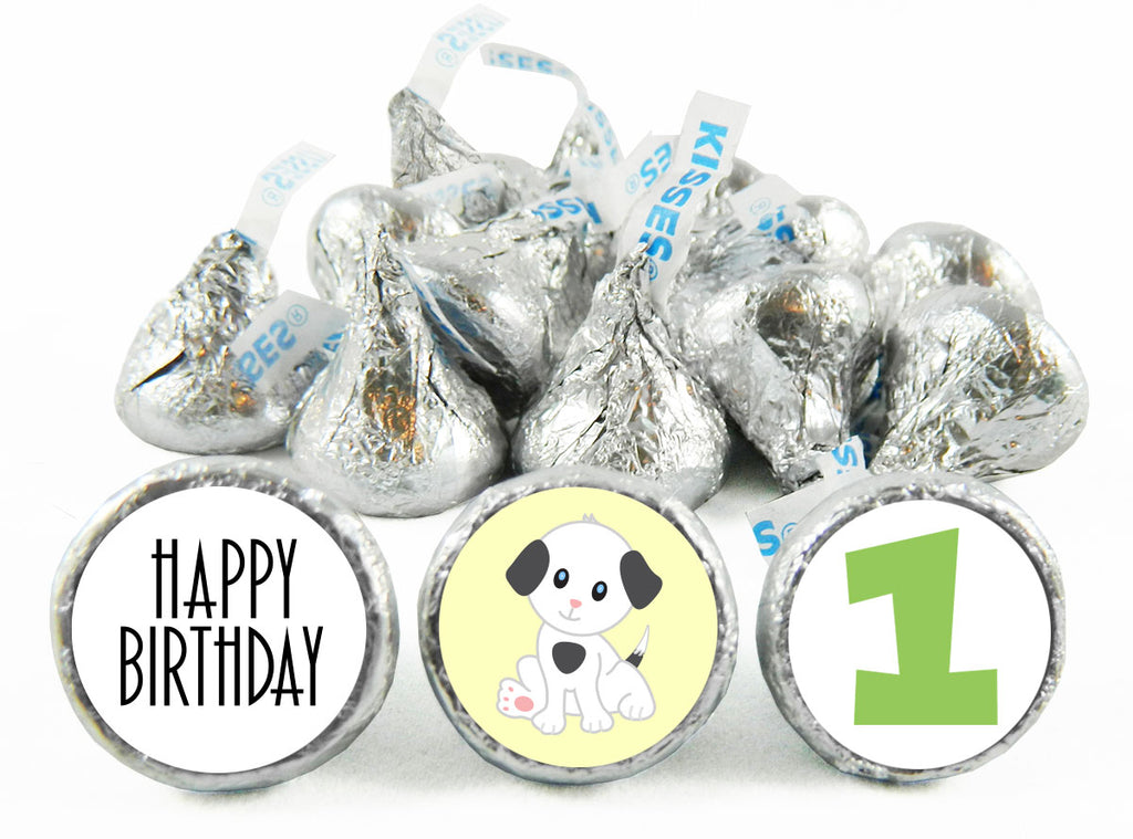 1st Birthday Puppy Birthday Party Labels for Hershey's Kisses