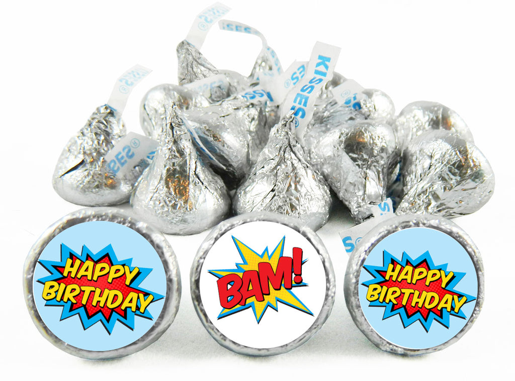 Super Hero Birthday Party Labels for Hershey's Kisses