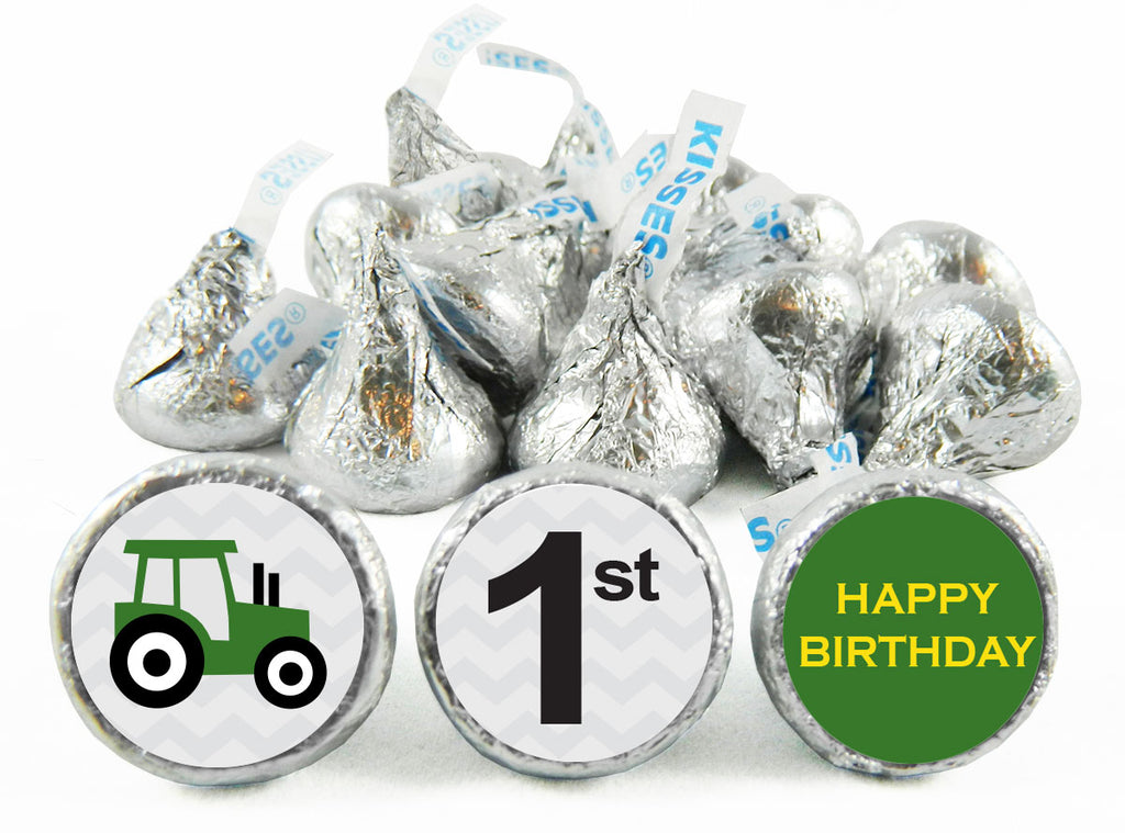 1st Birthday Tractor Birthday Party Labels for Hershey's Kisses
